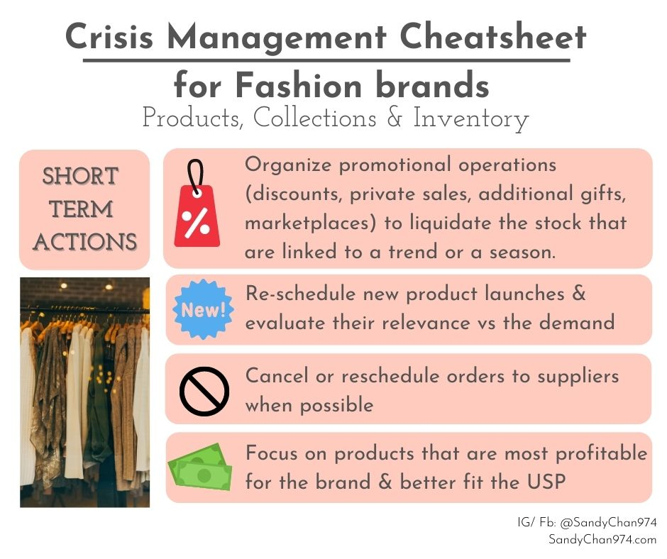 crisis management cheatsheet for fashion brands - short terms actions about your products, collections and inventory  for crisis-proof fashion brands