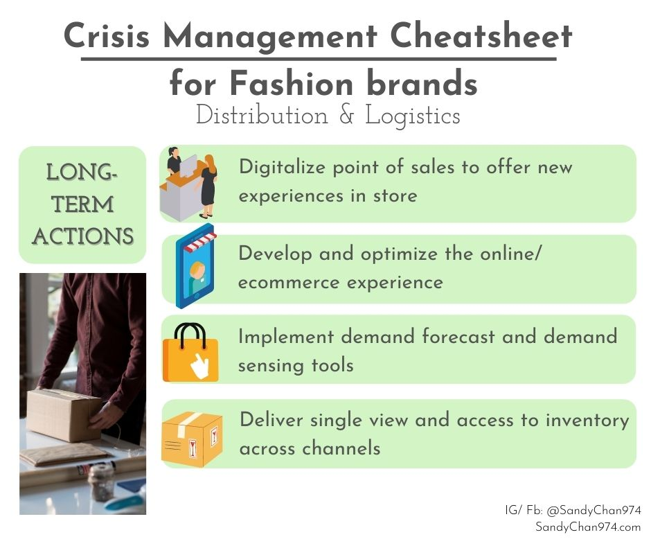 crisis management cheatsheet - long term actions to take about your distribution and your logistics for crisis-proof fashion brands