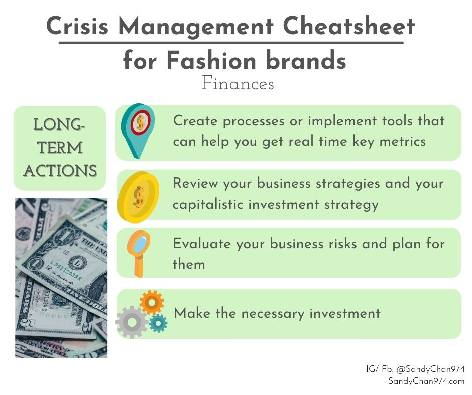 crisis management cheatsheet - strategic and financial long term actions for crisis-proof fashion brands
