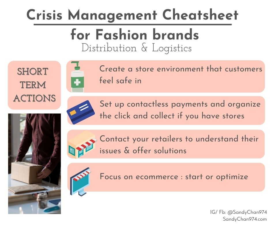 crisis management cheatsheet for fashion brands - short terms actions to implement for your distribution and logistics  for crisis-proof fashion brands