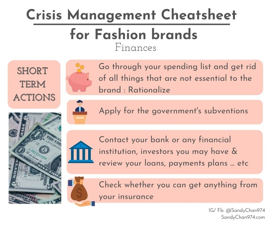 crisis management cheatsheet - short terms action to take about your finances  for crisis-proof fashion brands