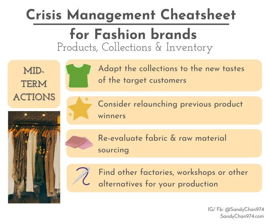 crisis management cheatsheet - mid-term actions about your products, collections and inventory  for crisis-proof fashion brands