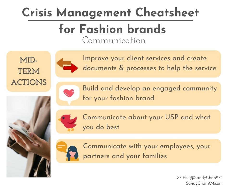 crisis management cheatsheet - mid-terms actions you can take about your communication  for crisis-proof fashion brands
