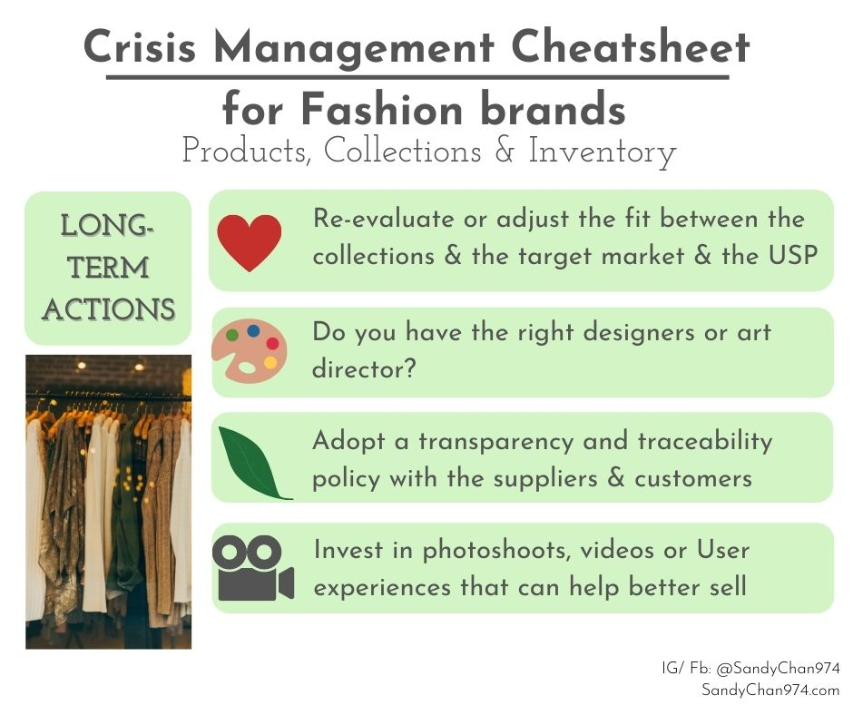 crisis management cheatsheet - long-term actions to take about your products, collections and inventory  for crisis-proof fashion brands