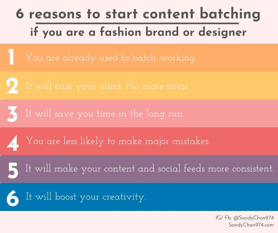 6 reasons to start content batching when you are a fashion brand or fashion designer