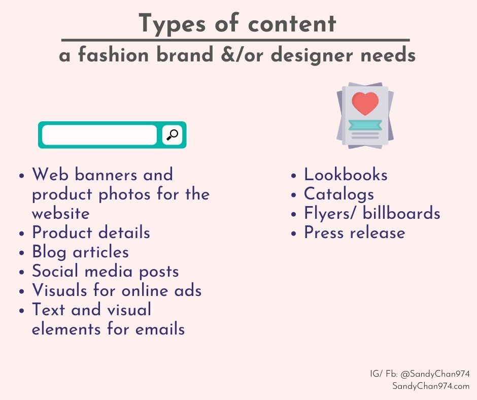 Types of content a fashion brand or a fashion designer needs