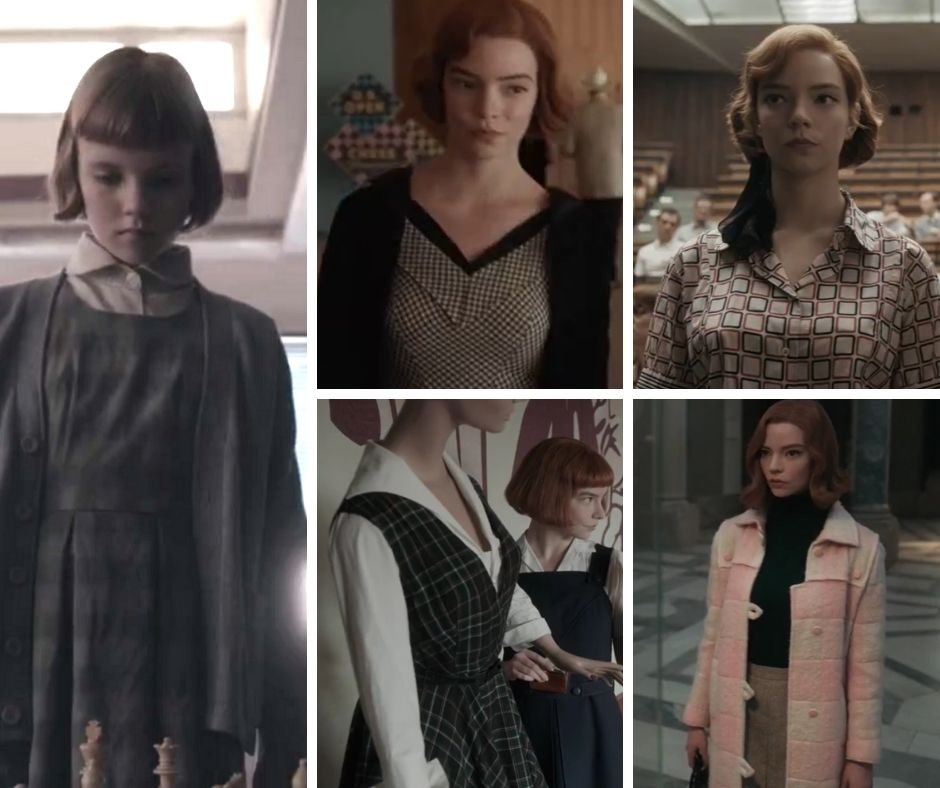 Beth Harmon's outfits : chess board patterns